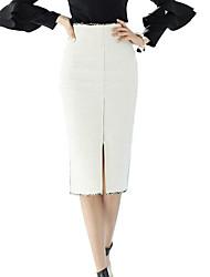 abordables -Mujer Básico Corte Bodycon Faldas Un Color