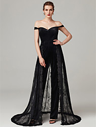 cheap -Jumpsuit Off Shoulder Sweep / Brush Train Lace / Jersey Formal Evening / Black Tie Gala Dress with Appliques / Pleats by TS Couture®