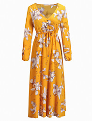 baratos -Mulheres Moda de Rua Bainha Vestido Floral Longo