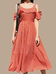 baratos -Mulheres Moda de Rua Evasê Vestido - Frente Única, Sólido Médio