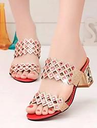 preiswerte -Damen Schuhe PU Sommer Komfort Sandalen Blockabsatz für Gold Rot Blau