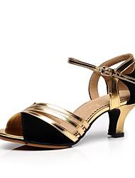 Недорогие -Жен. Обувь для латины Замша На каблуках Каблуки на заказ Персонализируемая Танцевальная обувь Золотой / Серебряный / В помещении