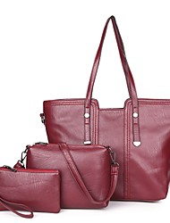 cheap -Women's Bags PU Tote 3 Pcs Purse Set Zipper for Office & Career Red / Purple / Sillver Gray