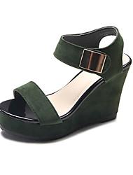 baratos -Mulheres Sapatos Camurça Primavera Verão Chanel Sandálias Caminhada Salto Plataforma Dedo Aberto Branco / Preto / Verde