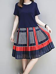 Недорогие -Жен. Классический Богемный Прямое Платье - Контрастных цветов Средней длины