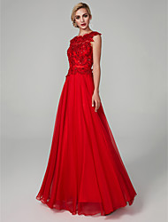 cheap -A-Line Bateau Neck Floor Length Chiffon Lace Prom / Formal Evening Dress with Beading Appliques Sash / Ribbon by TS Couture®