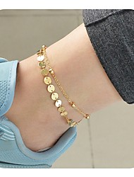 abordables -Bracelet de cheville - Femme Or / Argent simple / Rétro / Décontracté Forme de Cercle Bracelet de cheville Pour Quotidien / Vacances