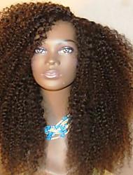 Недорогие -Remy Лента спереди Парик Бразильские волосы Кудрявый Парик Стрижка каскад 130% Парик в афро-американском стиле / Для темнокожих женщин Черный Жен. Короткие / Средняя длина
