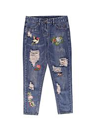 billige -Dame Gade Jeans Bukser Blomstret