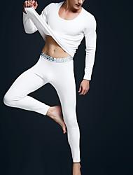 baratos -Homens Decote U Conjunto Pijamas Sólido