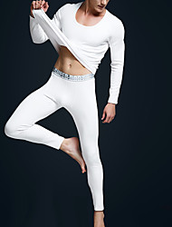 cheap -Men's U Neck Suits Pajamas Solid Colored