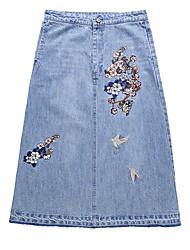 cheap -Women's Street chic Denim A Line Skirts - Floral