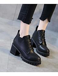 baratos -Mulheres Sapatos Couro Ecológico Outono Inverno Coturnos Curta / Ankle Botas Salto Robusto Botas Curtas / Ankle para Casual Preto