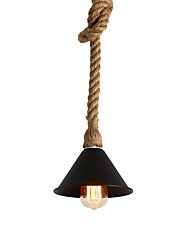 cheap -Vintage Industrial Style Hemp Rope Mini Pendant Lights Black Metal Shade Kitchen Dining Room Use 1 E26/E27 Bulbs