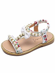 cheap -Girls' Shoes Leatherette Summer Comfort Sandals for Casual White Black Pink
