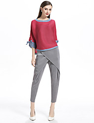 abordables -Mujer Básico Plisado Camiseta Bloques