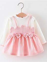 economico -abito color block tinta unita bambina, poliestere primavera estate maniche lunghe giallo verde rosa 70 80 100 90