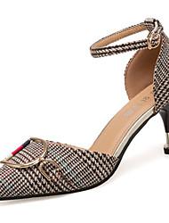 baratos -Mulheres Sapatos Couro Ecológico Linho Primavera Conforto Saltos Salto Agulha Dedo Apontado Presilha para Preto Amarelo Khaki