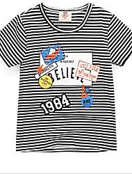 economico -Da ragazzo Quotidiano Scuola A strisce Fantasia geometrica T-shirt, Cotone Estate Manica corta Romantico Attivo Nero