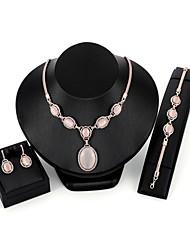 baratos -Mulheres Zircão / Chapeado Dourado / Opala Conjunto de jóias 1 Colar / 1 Bracelete / Brincos - Importante / Fashion Formato Circular /