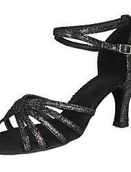 baratos -Mulheres Sapatos de Dança Latina Pele Granulada / Couro Envernizado Sandália / Salto Presilha Salto Robusto Personalizável Sapatos de