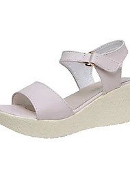 preiswerte -Damen Schuhe PU Sommer Sandalen Keilabsatz Offene Spitze Klett für Alltag Purpur / Rosa / Hellblau