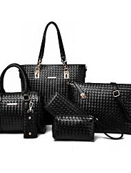 baratos -Mulheres Bolsas PU Conjuntos de saco 6 Pcs Purse Set Com Relevo Azul / Preto / Cinzento
