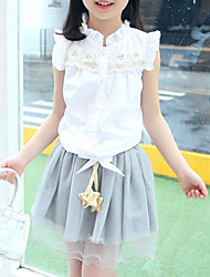 cheap -Girls' Daily Patchwork Clothing Set, Cotton Summer Sleeveless Ruffle Lace White Pink
