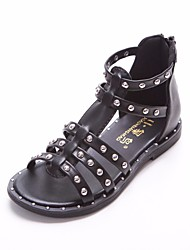 cheap -Girls' Shoes Leatherette Summer Flower Girl Shoes Sandals for Casual White Black