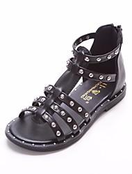 abordables -Fille Chaussures Similicuir Eté Chaussures de Demoiselle d'Honneur Fille Sandales pour Décontracté Blanc Noir