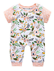 cheap -Baby Unisex Daily Holiday Floral One-Pieces, Cotton Polyester Summer Cute Short Sleeve Blushing Pink 90 100 80 70