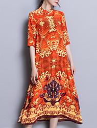 preiswerte -Damen Übergrössen Seide Schlank Hülle Kleid Blumen Midi Rundhalsausschnitt