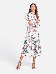 cheap -Women's Holiday Boho Chiffon Dress - Floral