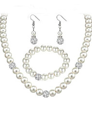 baratos -Mulheres Conjunto de jóias 1 Colar / 1 Bracelete / Brincos - Elegant / Fashion / Europeu Formato Circular Branco Conjunto de Jóias /