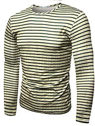 baratos -Homens Camiseta Activo Listrado Estampa Colorida