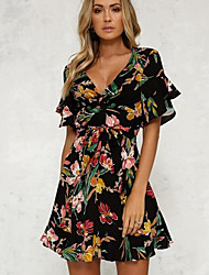 baratos -Mulheres Simples Manga Alargamento Bainha Vestido - Estampado, Floral Acima do Joelho