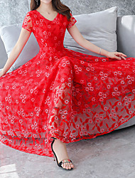 cheap -Women's Plus Size Holiday Street chic / Sophisticated Slim Sheath Dress - Solid Colored Red, Lace V Neck / Spring / Summer