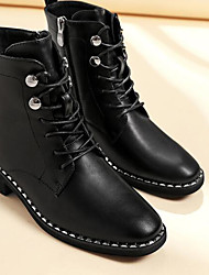 baratos -Mulheres Sapatos Couro Ecológico Inverno Coturnos Botas Salto Robusto Botas Cano Médio Preto