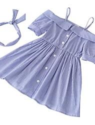 abordables -Robe Fille de Quotidien Vacances Rayé Coton Polyester Eté Manches Courtes Mignon Actif Bleu