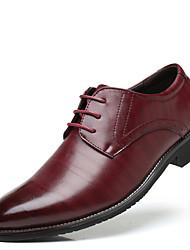 Недорогие -Муж. обувь Искусственное волокно Весна Осень Формальная обувь Туфли на шнуровке Оборки сбоку для Свадьба Офис и карьера Черный Желтый