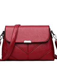 baratos -Mulheres Bolsas PU Leather Bolsa de Ombro Em Camadas para Compras Vermelho / Cinzento / Marron