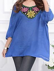 baratos -Mulheres Camiseta - Feriado Activo / Básico Estampado, Geométrica Algodão Decote Quadrado Solto / Primavera / Verão
