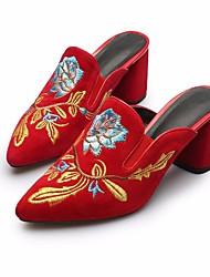 preiswerte -Damen Schuhe Leder Frühling Sommer Pumps Komfort Cloggs & Pantoletten Blockabsatz für Normal Schwarz Rot Blau