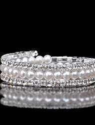cheap -Women's Cubic Zirconia / Pearl Layered Bangles / Cuff Bracelet - Zircon, Austria Crystal Classic, Vintage, Multi Layer Bracelet White For Wedding / Evening Party