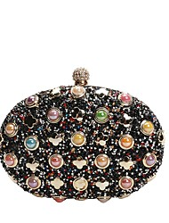cheap -Women's Bags PU Leather Evening Bag Rivet / Crystals / Pearls Black / Silver / Red