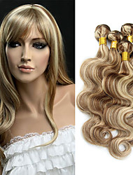 cheap -Brazilian Hair Wavy Ombre Hair Weaves / One Pack Solution / Human Hair Extensions 3 Bundles Human Hair Weaves Soft / Ombre Hair / Unprocessed Medium Brown / Bleach Blonde Human Hair Extensions Women's
