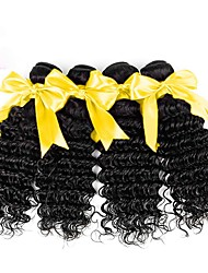 cheap -Malaysian Hair / Deep Wave Wavy / Deep Wave Virgin Human Hair Cosplay Suits / Natural Color Hair Weaves / Extension 4 Bundles Human Hair Weaves Soft / Easy dressing / Hot Sale Natural Black Human