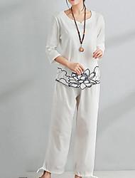 Недорогие -Жен. Классический Шинуазери (китайский стиль) Блуза Брюки - С принтом, Однотонный Цветочный принт