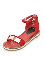 Mujer Zapatos PU Primavera verano Tira en el Tobillo Sandalias Tacón Plano Hebilla Negro / Amarillo / Rojo I6I33sc