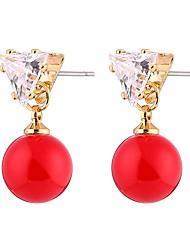 abordables -Femme Adorable Zircon / Perle Perle / Zircon Boucles d'oreille goujon - Mode / Doux Rouge Forme de Cercle / Forme Géométrique Des boucles